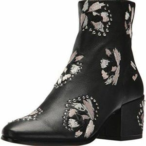 Dolce Vita Black Leather Mollie Embroidered Boots